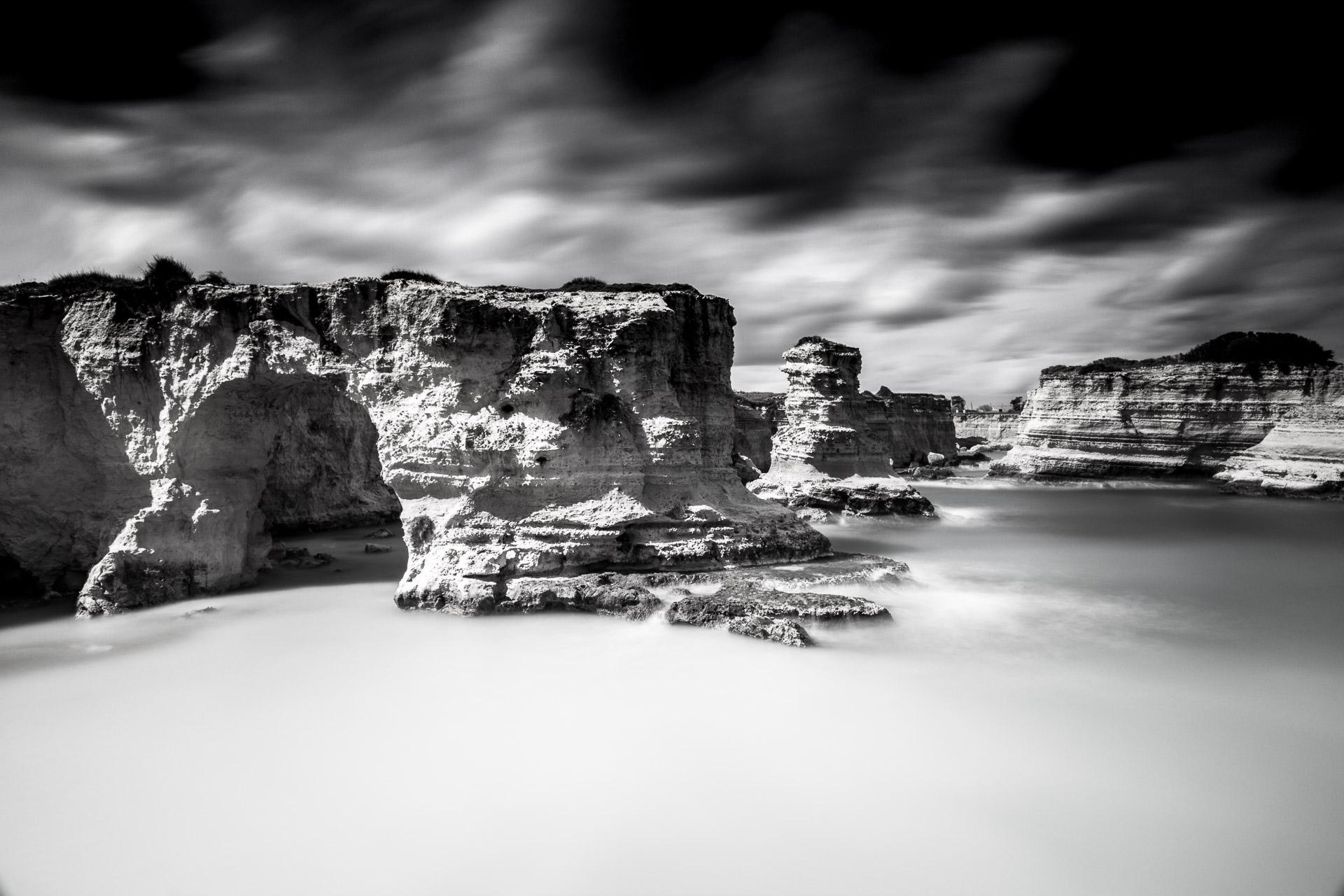 I Faraglioni di Sant'Andrea, black and white long exposure photography