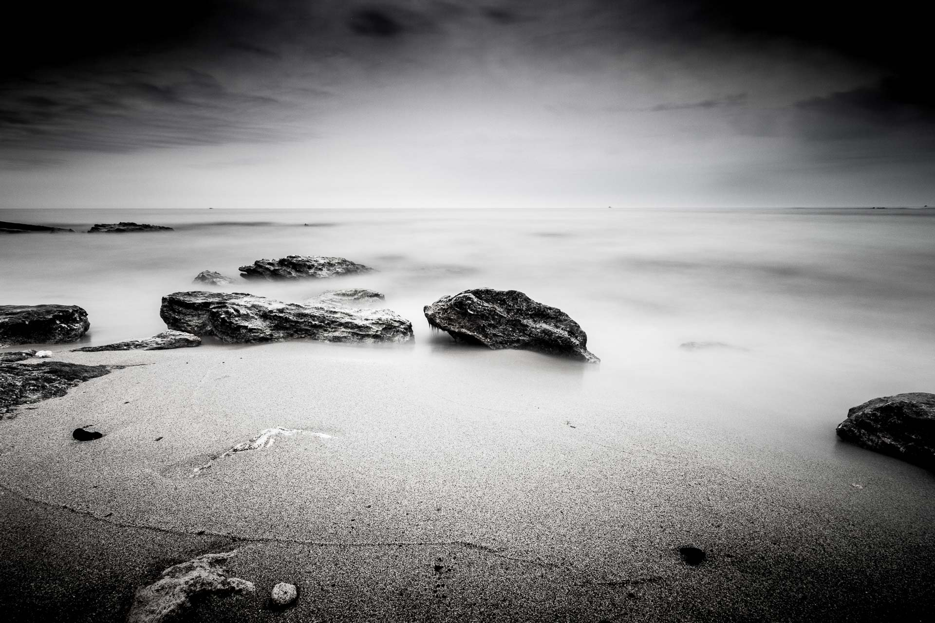 Seascape in black and white, long exposure photography