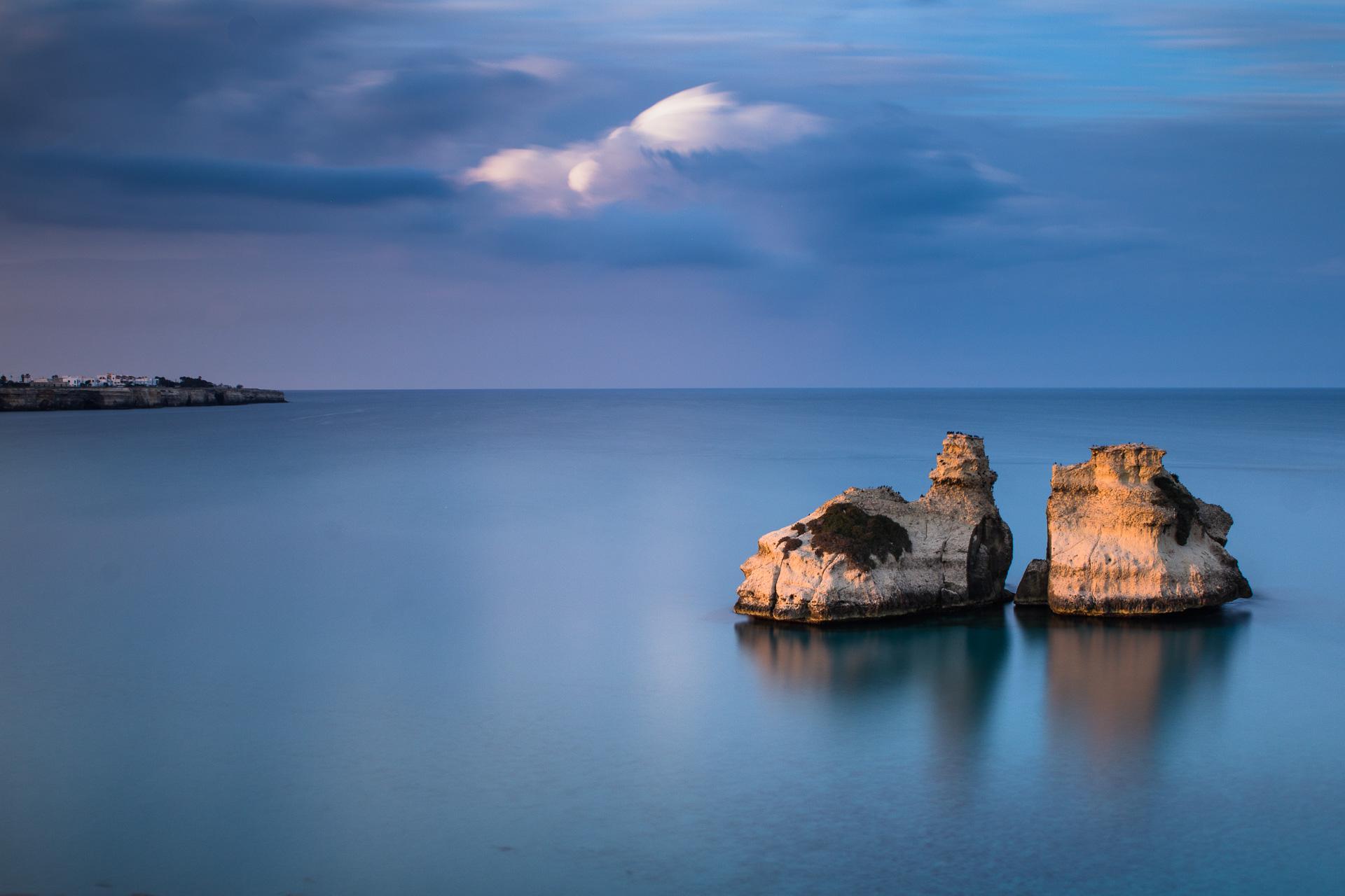 Le Due Sorelle Torre dell'Orso, seascape long exposure photography