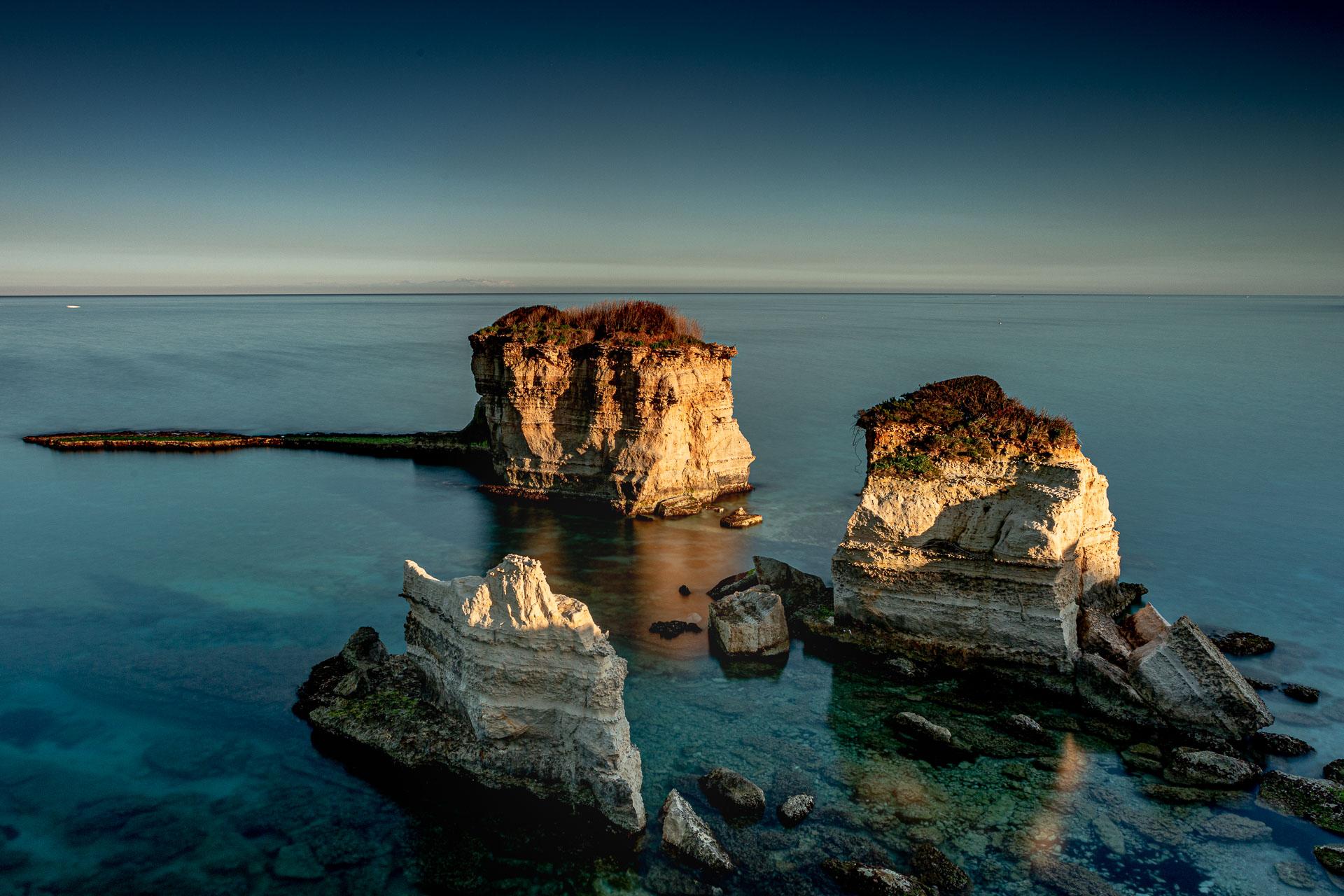 Scogliera costa nord di Otranto, seascape long exposure photography