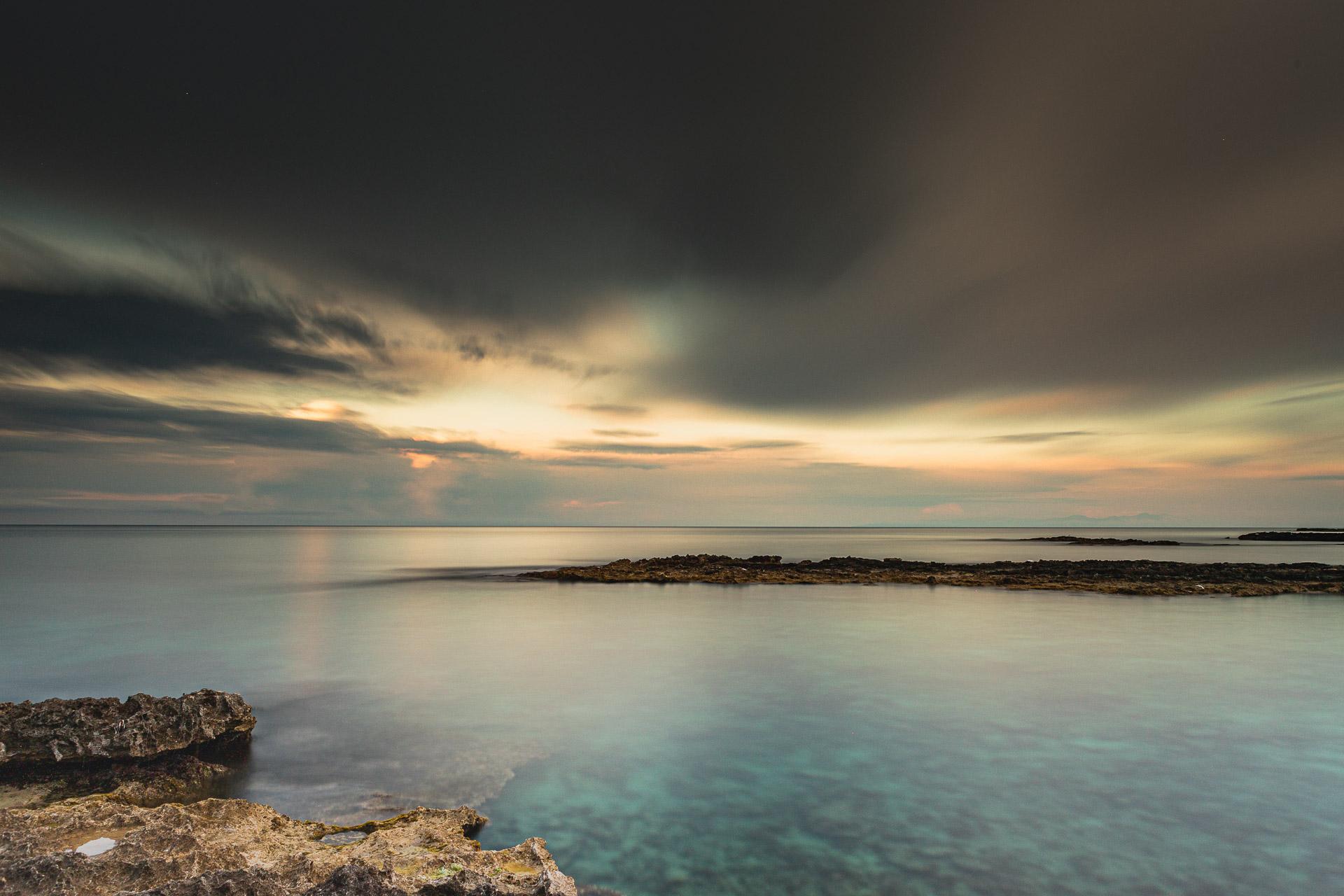 Sunset seascape long exposure photography