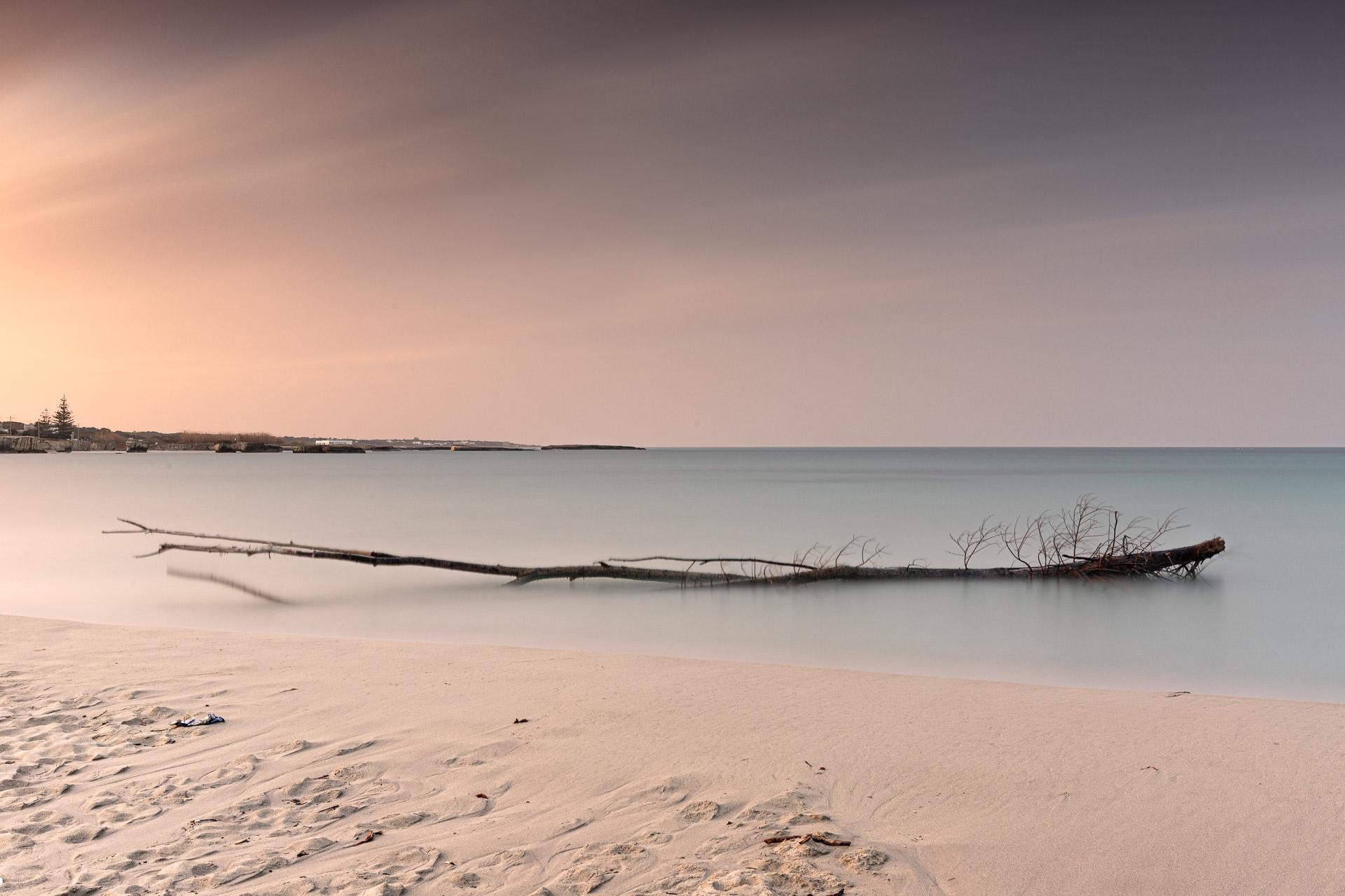 Tramonto a San Foca con un tronco in mare, seascape long exposure photography